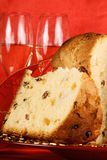 Christmas composition with panettone and spumante Stock Images