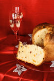 Christmas composition with panettone and spumante stock image