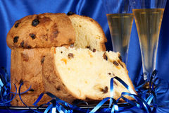 Christmas composition with panettone and spumante Stock Photos