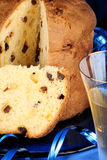 Christmas composition with panettone and spumante Royalty Free Stock Photography