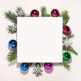 Christmas composition. Paper blank, christmas royalty free stock image
