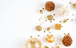 Christmas composition. a pattern of golden christmas balls and stars from above. Flat lay, top view. Christmas balls. Christmas composition. a pattern of golden royalty free stock photo