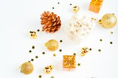 Christmas composition. a pattern of golden christmas balls and stars from above. Flat lay, top view. Christmas balls. Christmas composition. a pattern of golden royalty free stock photos