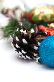 Christmas composition with pine cones and balls Royalty Free Stock Image