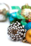 Christmas composition with pine cones and balls Royalty Free Stock Photo