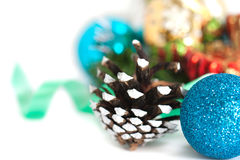 Christmas composition with pine cones and balls Stock Photography