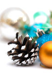 Christmas composition with pine cones and balls Stock Images