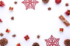 Christmas composition with pine cones and christmas decoration on white background stock photo