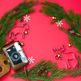 Christmas composition on red background. Christmas composition with fir and cookie cutter on red background Stock Image