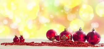 Christmas Composition. Red Baubles On Holiday Lights Background Royalty Free Stock Photos