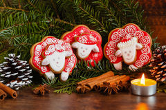 Christmas composition with red gingerbread sheep. Year of the Sh Stock Photo