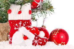 Christmas composition with red sock and decoration Royalty Free Stock Photo