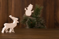 Christmas composition with reindeer and snowmen Stock Photos