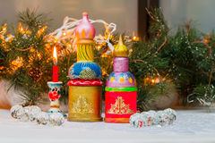 Christmas composition in the Russian style, models Russian church Stock Images