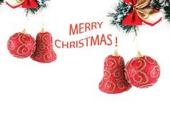 Christmas composition, sample text. Christmas composition with sample text, decorations Royalty Free Stock Images