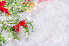 Christmas composition with silver bell decoration Stock Photo