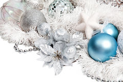 Christmas composition with silver flower Stock Photography