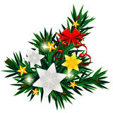 Christmas composition with silver stars and bow Stock Images