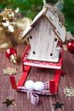 Christmas composition with a sledge Santa Claus Royalty Free Stock Photos