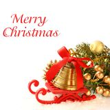 Christmas composition with sleigh and golden bell Stock Image