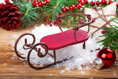 Christmas composition with sleigh Stock Images