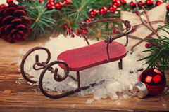 Christmas composition with sleigh Royalty Free Stock Images
