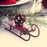 Christmas composition with sleigh Stock Photos