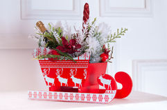 Christmas composition with sleigh Stock Photo