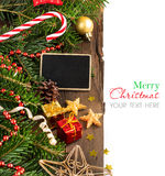 Christmas composition with a small chalkboard royalty free stock photography
