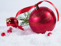 Christmas composition with snow and Christmas decoration royalty free stock photography
