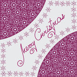 Christmas composition with snowflakes. Design a festive banner, poster, greeting card on a purple-pink background Royalty Free Stock Photo