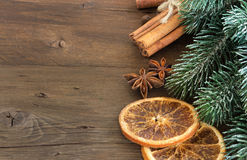 Christmas composition with spices Royalty Free Stock Image