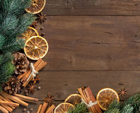 Christmas composition with spices Stock Images