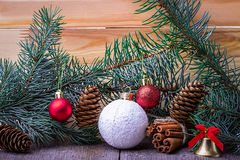 Christmas composition,  spruce branches, pine cones, toys Stock Photography