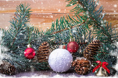 Christmas composition,  spruce branches, pine cones Royalty Free Stock Photography