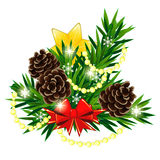 Christmas composition with star and bow. Christmas decoration made of fir twigs with yellow star and bow Royalty Free Stock Image