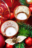 Christmas composition, still life. Elegant, Christmas composition with candle, baubles, pine branches. Still life Stock Photo