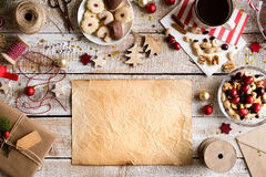 Christmas composition, studio shot, wooden background.Copy space Royalty Free Stock Photography