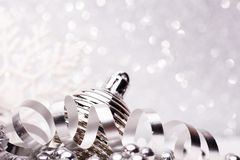 Christmas composition of Christmas tree toys on a silver background Royalty Free Stock Photos