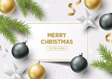Christmas Composition Vector. Christmas Composition with fir branches, christmas baubles and snowflakes on a colorful abstract background. Top view vector Royalty Free Stock Images