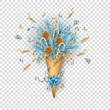 Christmas Composition in a Waffle Cone royalty free illustration