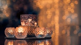 Christmas composition warm candles, dried oranges on table. Holiday, New Year, Christmas, cosiness concept. Cozy home royalty free stock photos