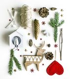 Christmas composition on a white background. Christmas decorations and spruce branches. royalty free stock photography