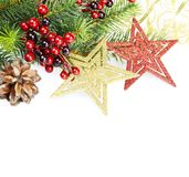 Christmas composition on a white background Royalty Free Stock Images