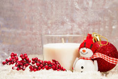 Christmas composition - white candle Royalty Free Stock Images