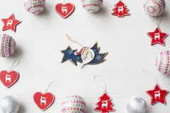 Christmas Ornaments on background. Christmas composition on white wooden background with copy space Stock Images