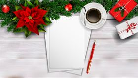 Christmas composition on white wooden table with blank piece peper for text stock images