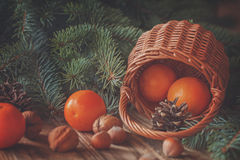 Christmas  composition wicker Basket with Stock Image