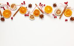 Free Christmas Composition With Dried Oranges And Spices On White Background. Natural Food Ingredient For Cooking Or Christmas Decor Stock Image - 161433281