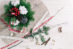 Christmas composition. On wood background Stock Photo
